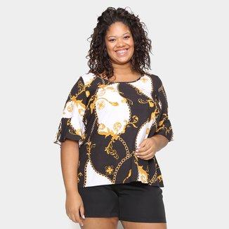 Blusa Wee! Plus Size Geométrica Botões Feminina