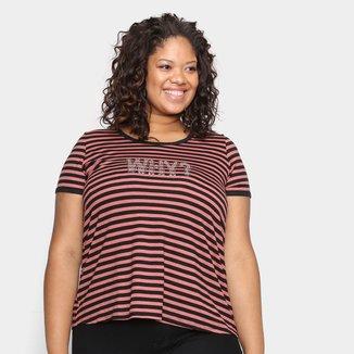 Blusa Wee! Plus Size Listrada Strass Feminina