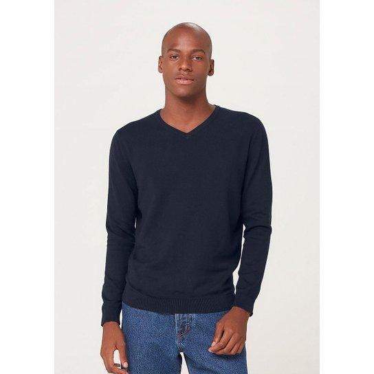 Blusão Masculino Básico Em Tricô E Gola V - K0WEYDXSI4 - Azul