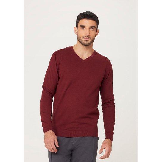 Blusão Masculino Básico Em Tricô E Gola V - K0WEYDXSI4 - Vermelho