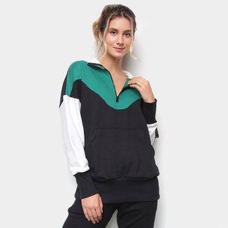 Blusão Moletom Color Block Feminino
