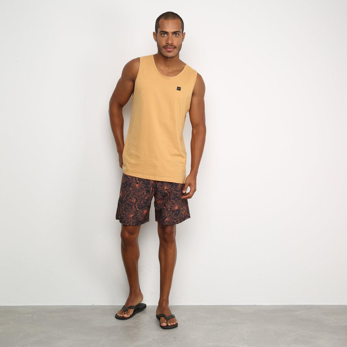 Boardshort Mash Estampado Folhagem Bicolor Masculino - Laranja