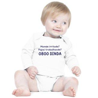 Body Criativa Urbana Bebê Frases Engraçadas 0800 Dinda Madrinha Manga Longa