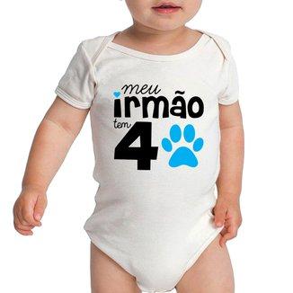 Body Criativa Urbana Bebê Frases Engraçadas Irmão 4 Patas Quatro Patas Pet