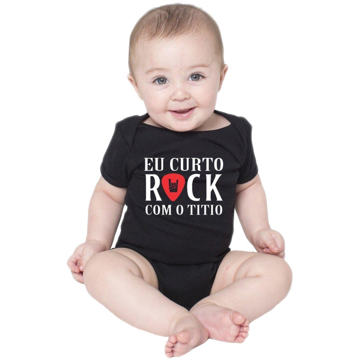Body Criativa Urbana Bebê Frases Engraçadas Rock Com O Titio Tio Preto