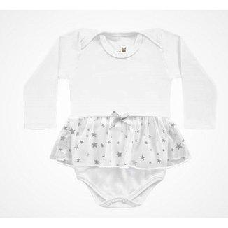 Body Manga Longa Kiko Baby Bebe Feminino Branco Com Babados Tamanho Rn Ao G