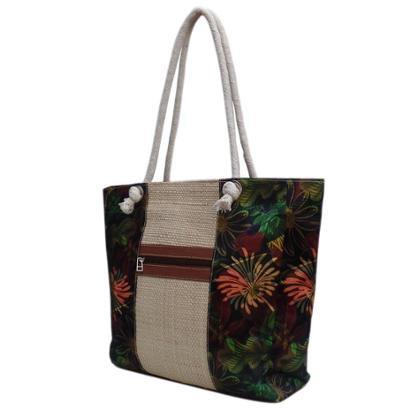 Bolsa Artestore De Palha Praia Estampa Floral Folhagens Alça De Cordão-Feminino