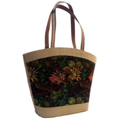 Bolsa Artestore Em Palha Marrom Estampa Natureza Floral-Feminino
