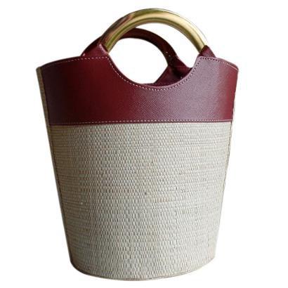 Bolsa Balde De Palha Cilíndrica Com Alça Aro Metal Redonda Bucket Bag Balde-Feminino