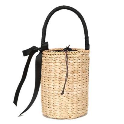 Bolsa Bucket de Mão em Palha Trançada com Laço