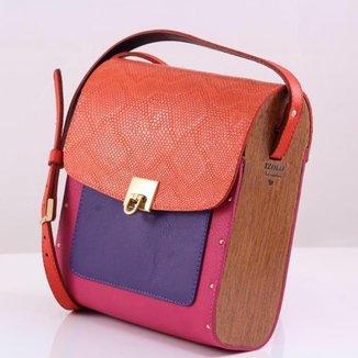 Bolsa couro Armazem RR Bijoux com lateral em madeira média pink e laranja