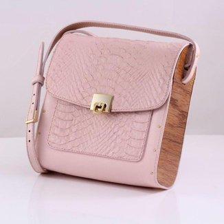 Bolsa couro Armazem RR Bijoux com lateral em madeira média rosa