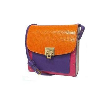 Bolsa couro Armazem RR Bijoux com lateral em madeira pequena rosa roxo e laranja