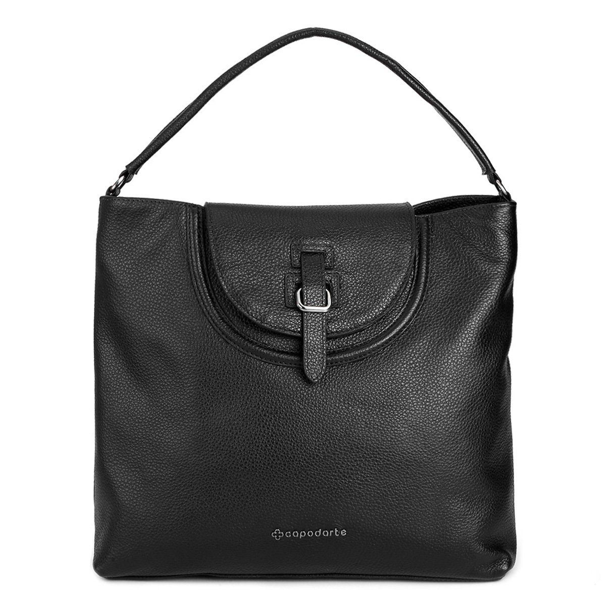 Bolsa Feminina De Couro Capodarte : Bolsa couro capodarte tote detalhe frontal feminina preto