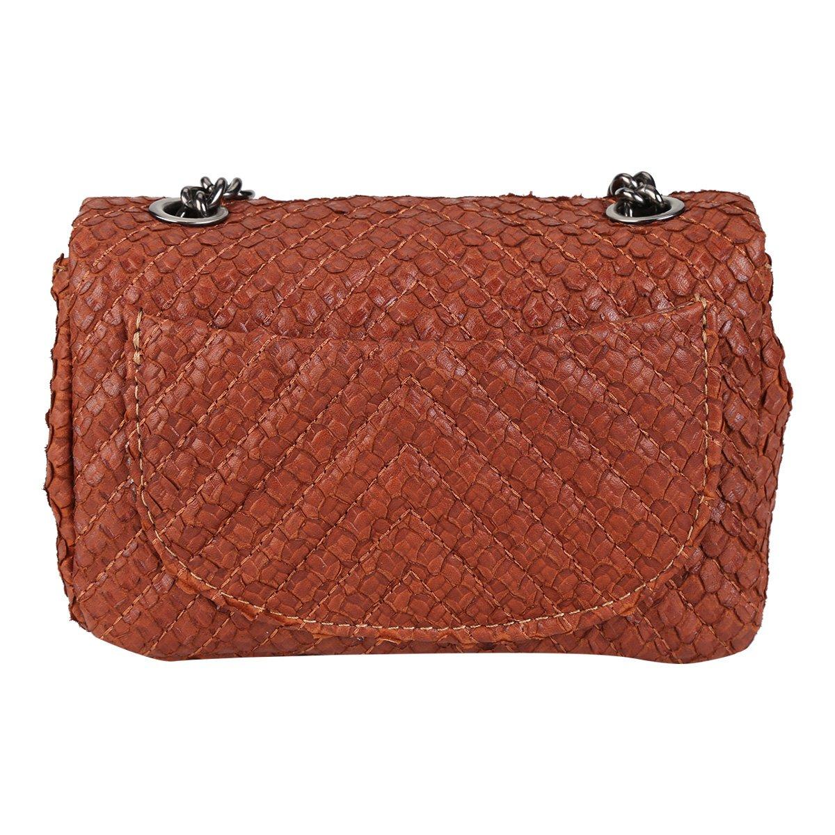 Bolsa Bag Couro Caramelo Caseina Serpente Couro Bolsa Dumond Mini Feminina pwRpxdqX