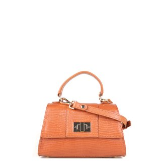 Bolsa Couro Jorge Bischoff Mini Bag Croco Feminina