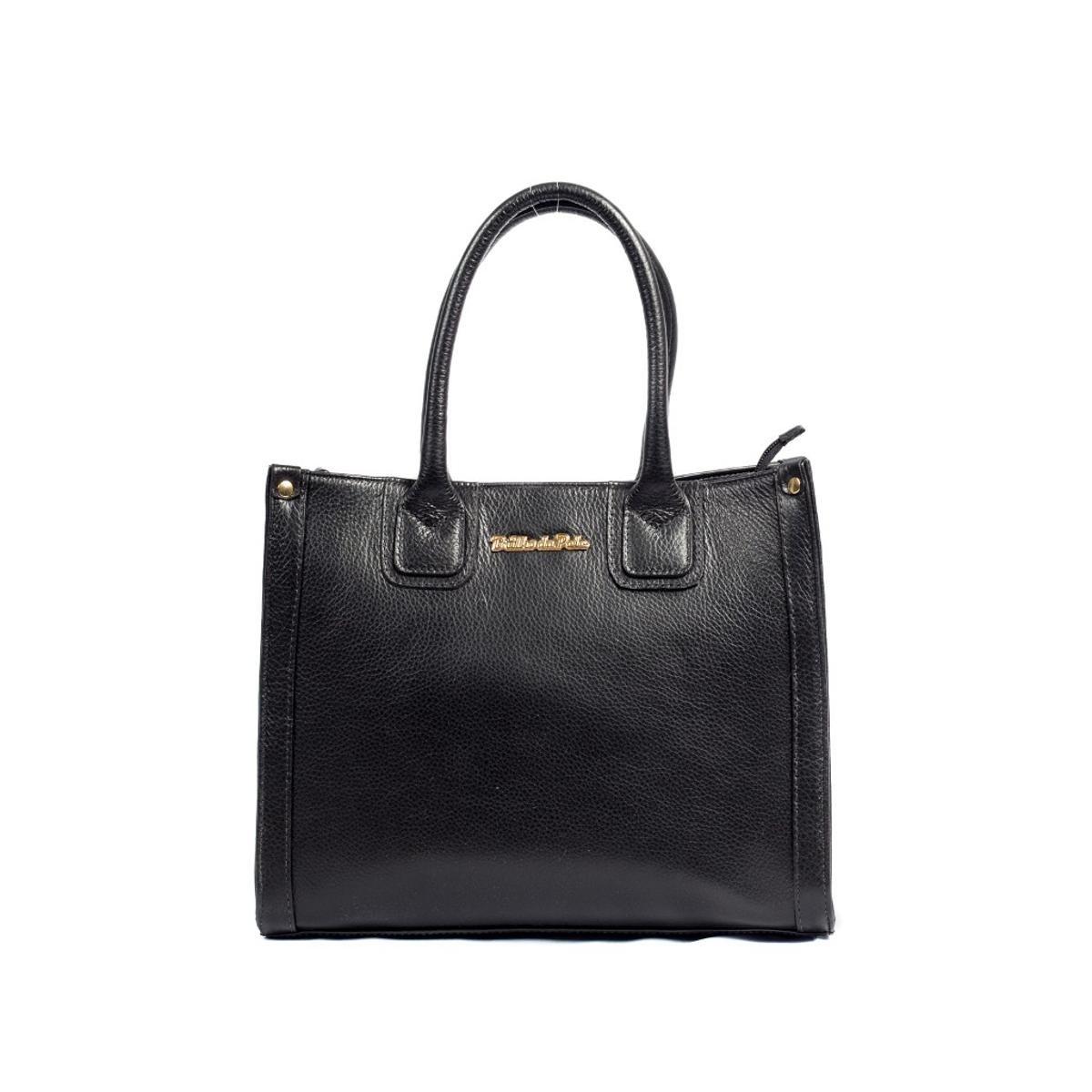 74c8df571 Bolsa Couro Legítimo Handbag Brilho da Pele Feminina - Preto - Compre Agora  | Zattini