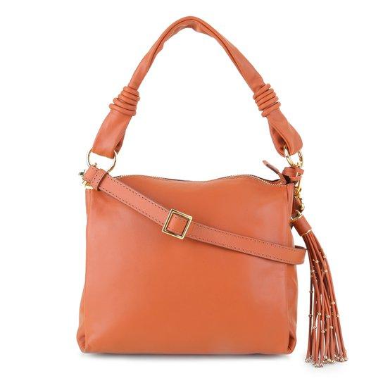 Bolsa Couro Luz Da Lua Handbag Com Barbicacho Feminina - Caramelo
