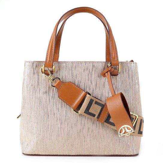 Bolsa Couro Luz Da Lua Handbag Monograma Feminina - Ouro