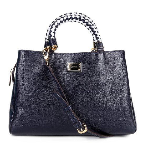 Bolsa Couro Luz da Lua Handbag Plaquinha Feminina - Marinho