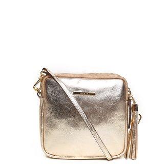 Bolsa Couro Luz da Lua Mini Bag Matelassê Metalizado Feminina
