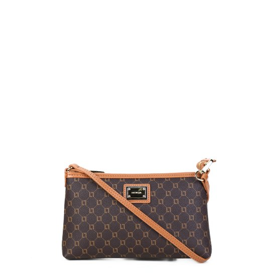 Bolsa Couro Luz da Lua Mini Bag Monograma Feminina - Marrom+Caramelo
