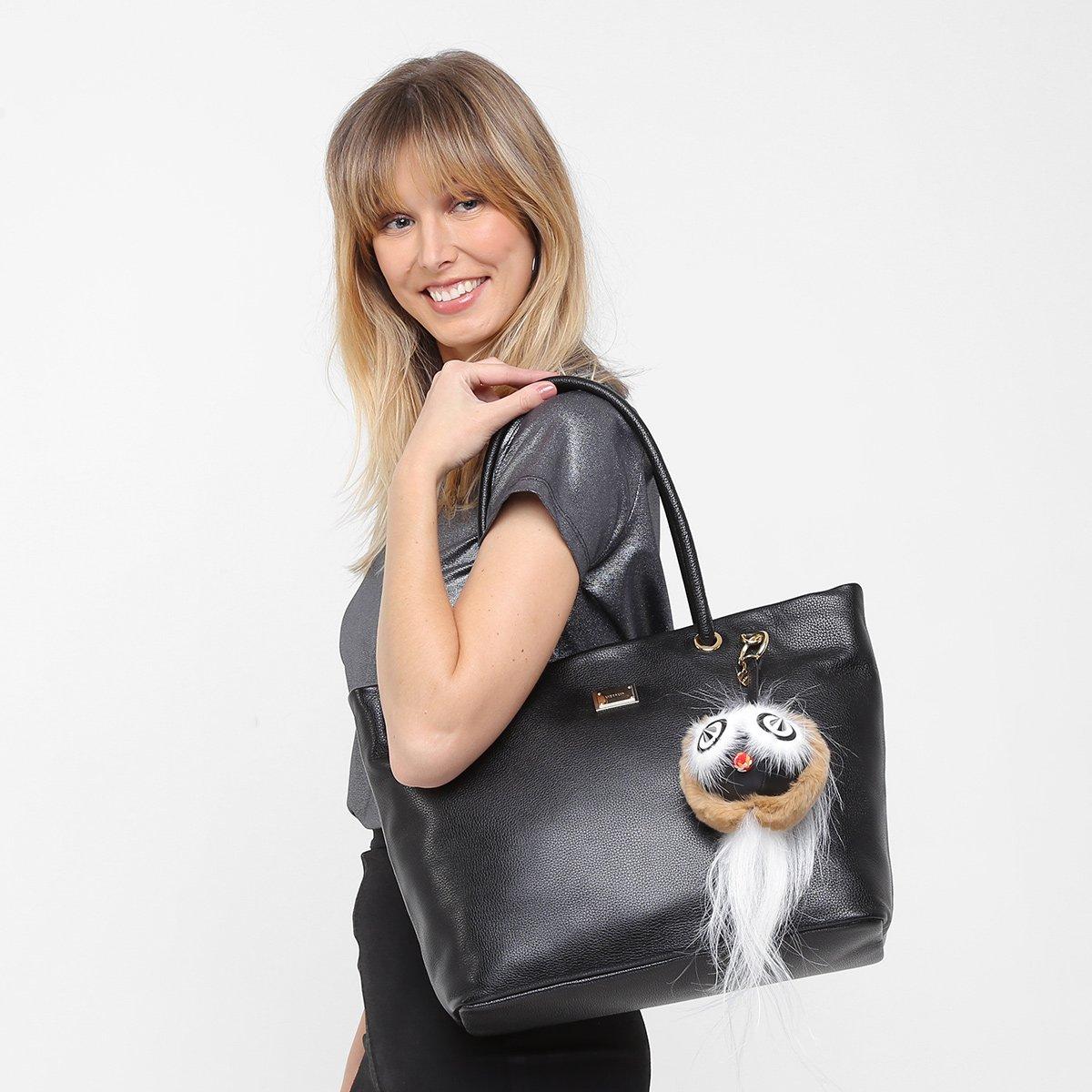 49f43ea7b Bolsa Couro Luz da Lua Shopper Detalhe Chaveiro Feminina - Compre ...