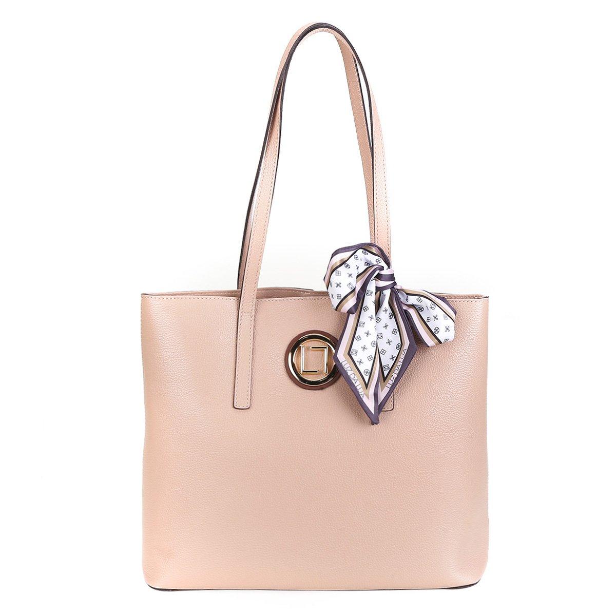 06c46e7717 Bolsa Couro Luz da Lua Shopper Lenço Feminina - Compre Agora