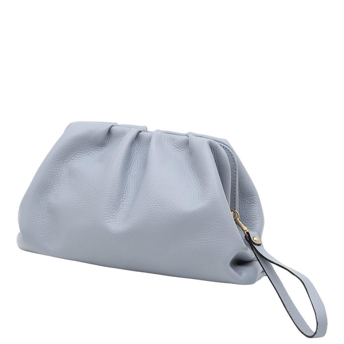 Bolsa Couro Mariart Carteira Clutch Mini Mari Feminina - Azul Claro