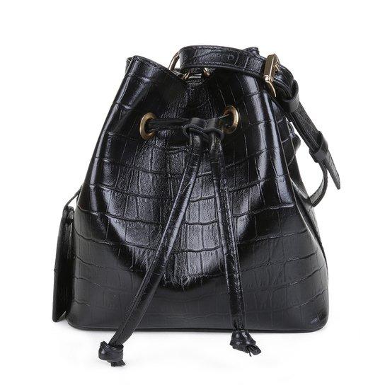 Bolsa Couro Shoestock Croco Bucket Belt Bag Feminina - Preto