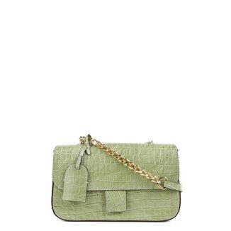 Bolsa Couro Shoestock Flap Croco Color Chain Feminina