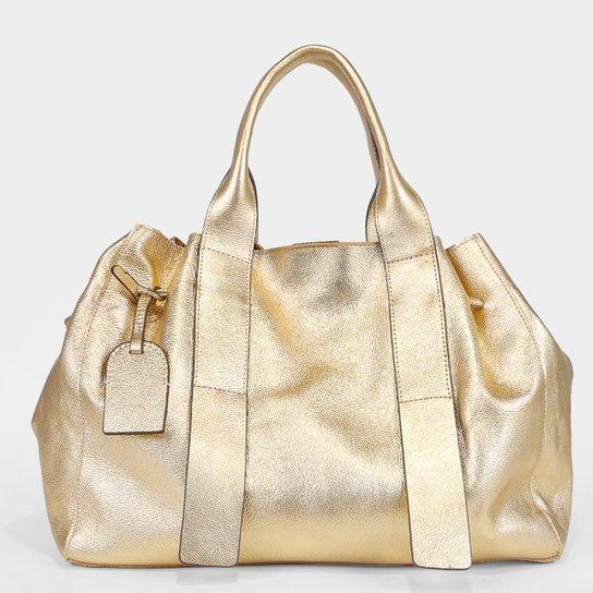Bolsa Couro Shoestock Tote Desestruturada Feminina - Dourado