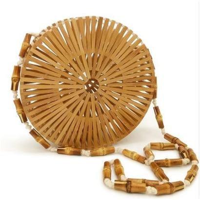 Bolsa De Madeira Artestore Varetas Bambu Redonda Design Vazado-Feminino