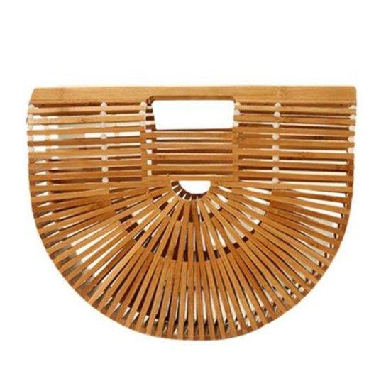 Bolsa de Madeira Bambu Design Vazado Similar a Cult Gaia - Bege