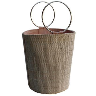 Bolsa De Palha Balde Artestore Cilíndrica Com Alça Aro Metal Redonda Bucket Bag-Feminino