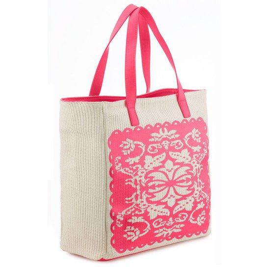 Bolsa de Praia Manly em Palha Arabescos Feminina - Pink
