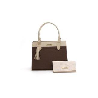 Bolsa Feminina Bicolor Com Carteira Santorini Handbag Tricê Creme/Marrom
