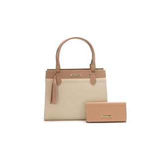 Bolsa Feminina Bicolor Com Carteira Santorini Handbag Tricê Nude/Creme
