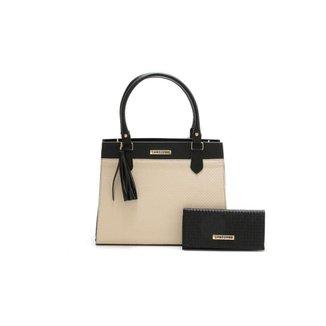 Bolsa Feminina Bicolor Com Carteira Santorini Handbag Tricê Preto/Creme