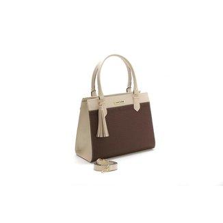 Bolsa Feminina Bicolor Santorini Handbag Tricê Creme/Marrom