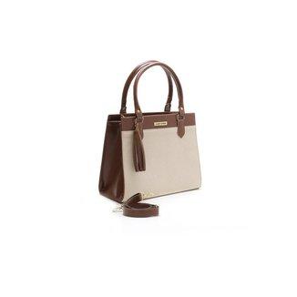 Bolsa Feminina Bicolor Santorini Handbag Tricê Marrom/Creme