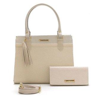 Bolsa Feminina Com Carteira Santorini Handbag Tricê Bege