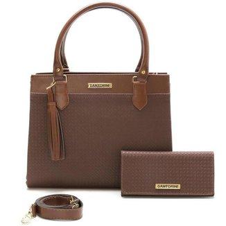 Bolsa Feminina Com Carteira Santorini Handbag Tricê Marrom
