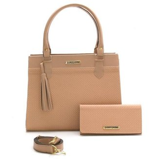 Bolsa Feminina Com Carteira Santorini Handbag Tricê Nude