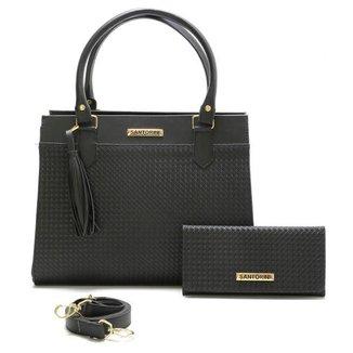 Bolsa Feminina Com Carteira Santorini Handbag Tricê Preto