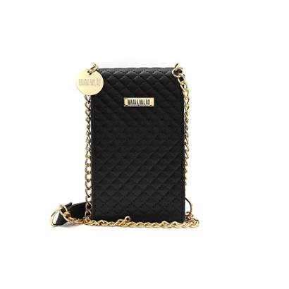 Bolsa Feminina Mini Bag Porta Celular Matelasse Transversal Feminino-Preto