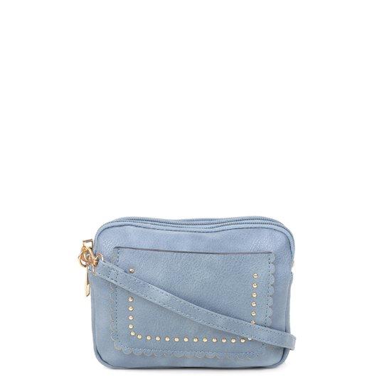 Bolsa Gash Transversal Tachas Pequena Feminina - Azul
