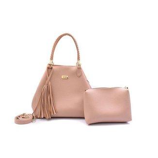 Bolsa Handbag Feminina Zíper Necessaire Trançada Dia a Dia