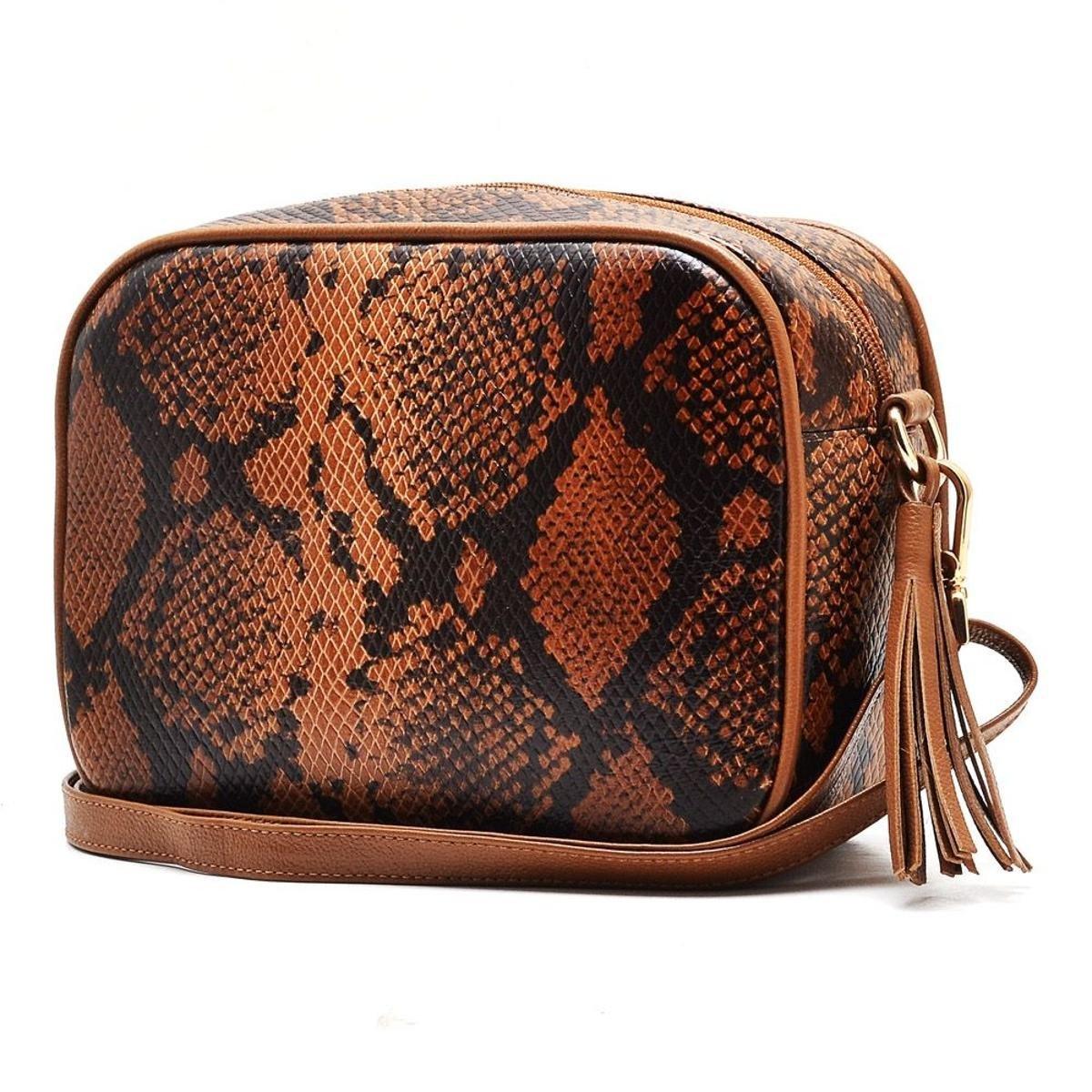 Bolsa Hendy Bag Quadrada Cobra - Caramelo+Off white