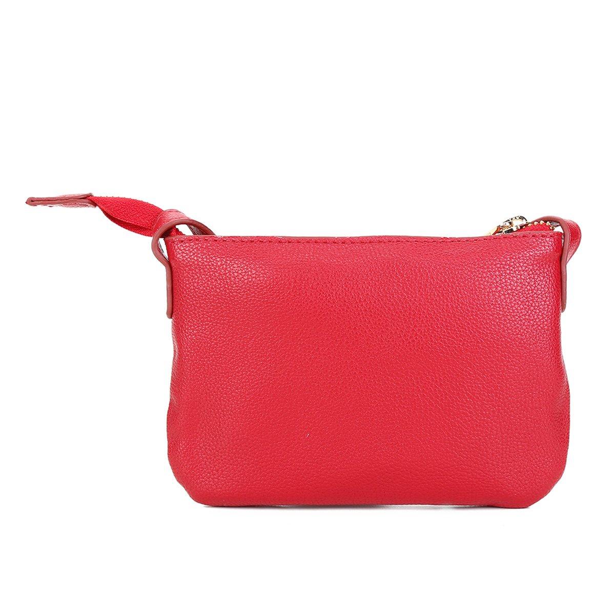 Bolsa Loucos & Santos Mini Bag Básica Plaquinha Feminina - Vermelho